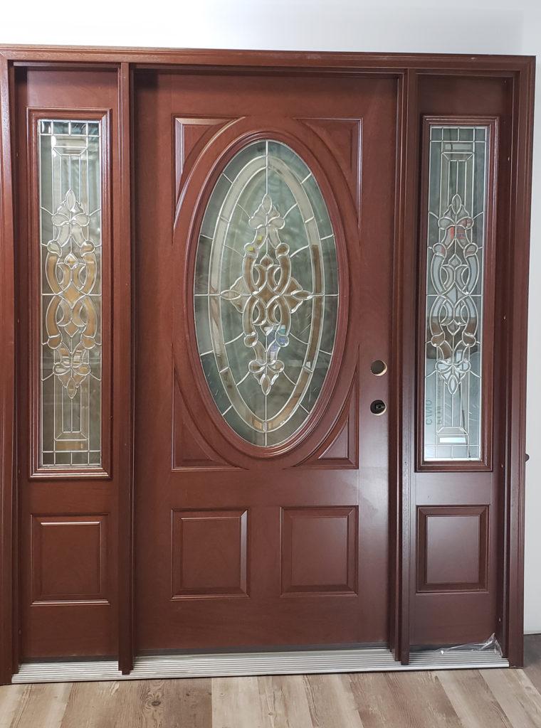 Fiberglass Entry Oval Glass Sidelights Exterior Door Dark