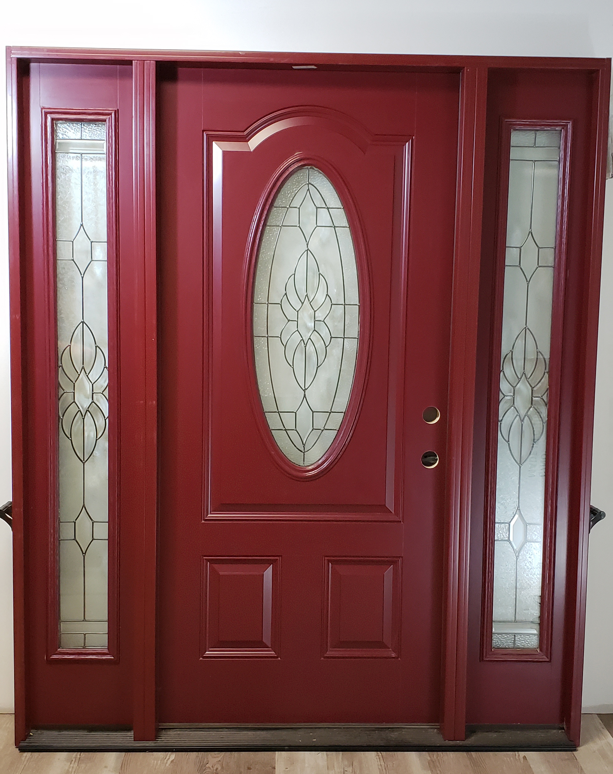 fiberglass-entry-oval-glass-sidelights-exterior-door-red-finish